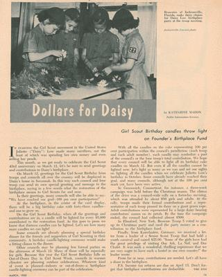 Dollars for Daisy Girl Scout Leader, March 1955