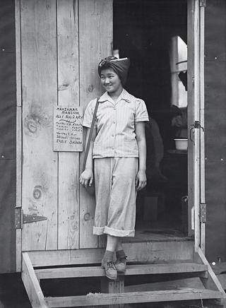 Archive photo of woman interned at Manzanar in 1942