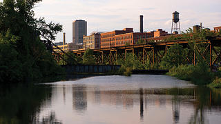 View of Shockoe Bottom from the James River in Richmond Virginia
