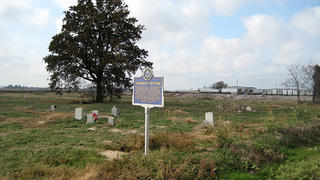 Charley Patton's grave and Blues Trail marker, Holly Ridge, MS.