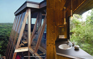Left: Exterior of the Bonaguisi 2 House. Right: The master bathroom in Gifford's Cashel house.