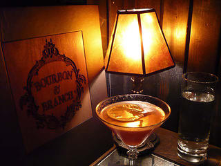 Bourbon & Branch drinks and lamp