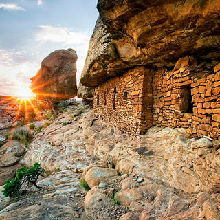 Cliff Dwelling at sunset in Eastern Cedar Mesa.