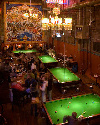 View of Mural and Pool Tables in Back Stage Bar
