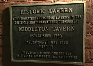 Middleton Tavern historic plaque