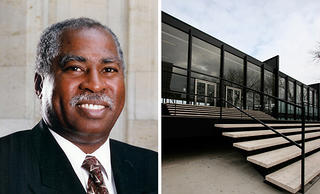 Left: Maurice Drue Parrish. Right: The Mies van der Rohe-designed S.R. Crown Hall at the Illinois Institute of Technology.