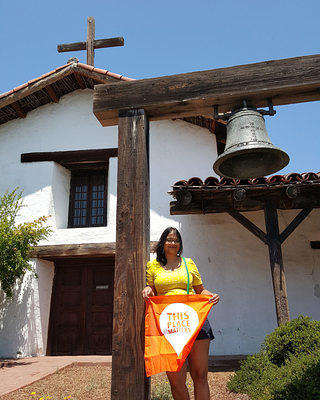Author outside Mission San Francisco Solano