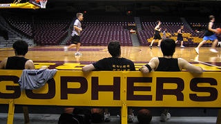 The raised floor at Williams Arena