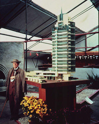 "Frank Lloyd Wright at the ""Sixty Years of Living Architecture"" exhibit."