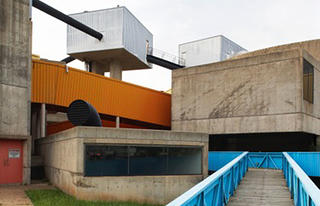 Exterior view of the concrete angles of the Mummers Theater
