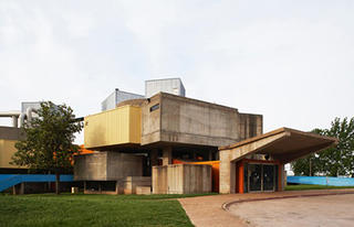 The front of the Mummers Theater that has served as a back drop for the annual Oklahoma City Arts Festival