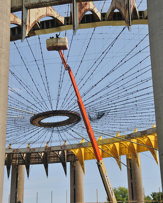 New York State Pavilion Crews Painting