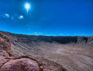 A meteor crater in Winslow, near the eastern border of Arizona