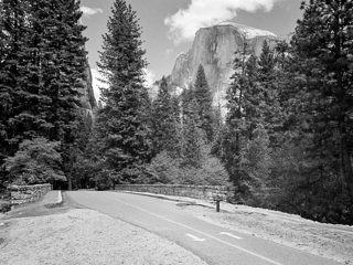 View of Half Dome looking east across Sugar Pine Bridge