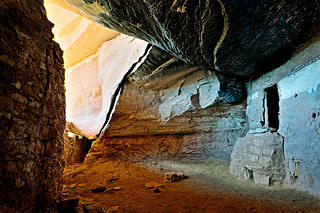 Moon House interior with snake pictograph.
