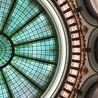 Heinen's stained-glass skylight in the rotunda.