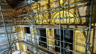 Scaffolding inside the Lyric Theatre during restoration