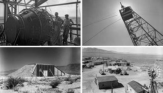 Manhattan Project in Los Alamos: Gadget atop the test tower, Base Camp, and Site 'B'
