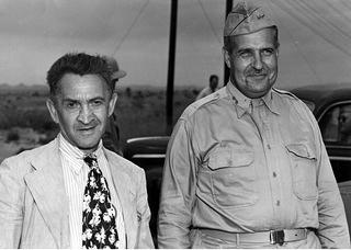 William Laurence and General Groves in Los Alamos, New Mexico