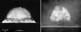 Two views of the mushroom cloud at the Trinity test