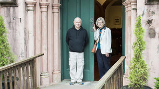 Church Warden Lewis Ashley and church historian May Hutchinson