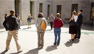 Tour guide leading group