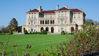 A view of the Breakers mansion from the Cliff Walk