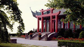 The tea house built behind the Vanderbilt Marble House estate in Newport, Rhode Island.