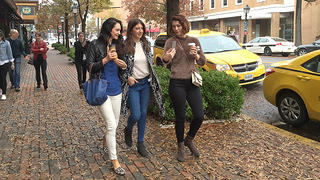 Hannah James, Mary Elizabeth Winstead, and Tara Summers walk through Alexandria
