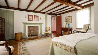 The bedroom at the Dayton-James House in Newport, Rhode Island