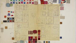 Miller House floor plan on board with attached material samples by Alexander Girard