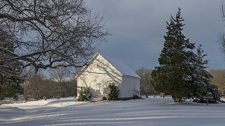 Medium shot of snow-covered Shiloh Methodist Church