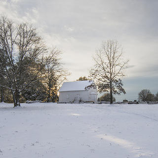 Wide shot of snow-covered Shiloh Methodist Church