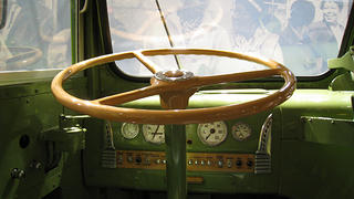 A shot of the driver's seat inside the Rosa Parks bus at the Henry Ford Museum and Greenfield Village.