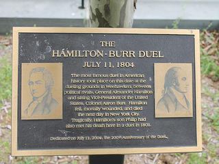 Sign at Weehawken Dueling Ground commemorating Hamilton-Burr duel