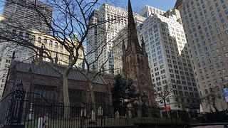 Exterior angle of Trinity Church on Wall Street, NYC, where Alexander Hamilton is buried.