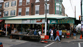 A shot of the Italian Market in Philadelphia, featured in Creed and Rocky.