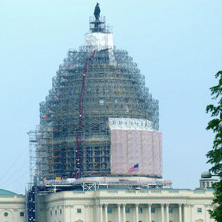 A shot of scaffolding on the renovated US Capitol Building.