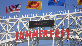 A sign announcing Summerfest in Milwaukee.