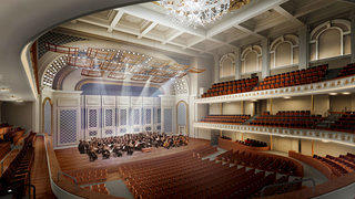 A rendering of the auditorium inside Cincinnati's Music Hall.