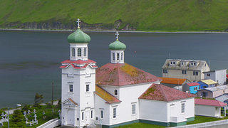 The Russian Orthodox Church of the Holy Ascension of Christ in Unalaska, Alaska, which is on the National Register of Historic Places.