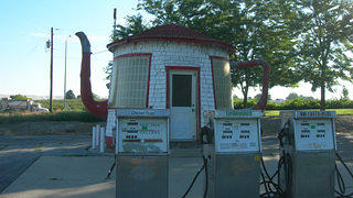 The former Teapot Dome Service Station, which is on the National Register of Historic Places.