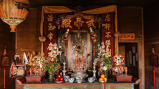 Altar at the Kwai Tai Temple in Mendocino, Ca.