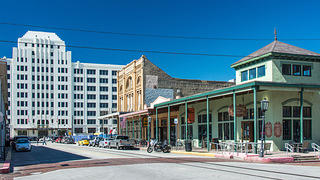 A picture of the Strand Historic District in Galveston, Texas.