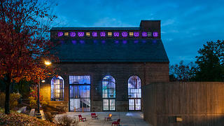 Exterior of the Powerhouse at Amherst College at night