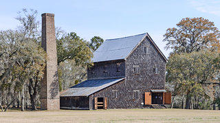 The rice mill and chimney at the Chicora Wood Plantation.