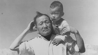 Grandfather and grandson at Manzanar Relocation Center