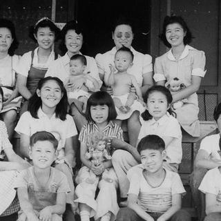 Evacuee orphans from San Francisco pose for a photo in Manzanar