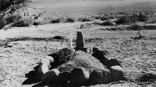 The first grave at Manzanar Center's cemetery