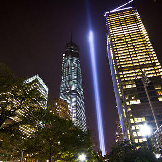 A tribute to the victims of the September 11th terrorist attacks in the form of an illumination.